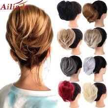 AILIADE dağınık sentetik düz Chignons saç ekleme saç parçası Wrap at kuyruğu saç kuyruk kabarık sahte saç topuz postiş