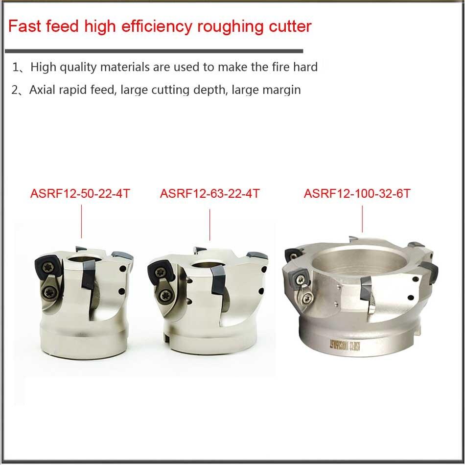 ASRF50/63/80/100 Mm Voor SDMT120512 Snelle Feed Hoge Efficiëntie Voorbewerken R4 R5 Frees Hoofd, axiale Bewerking Snijkop