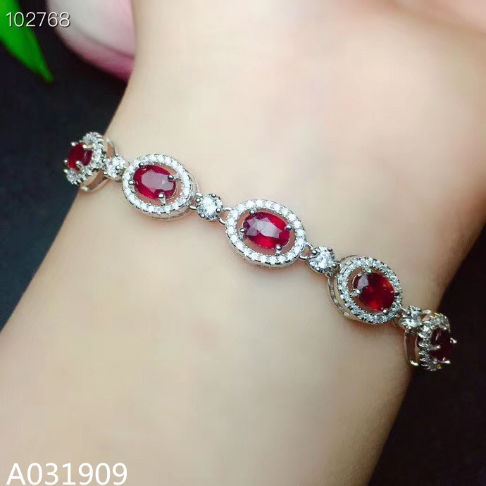 KJJEAXCMY boutique bijoux 925 argent sterling incrusté naturel rubis femme bracelet soutien détection exquis classique