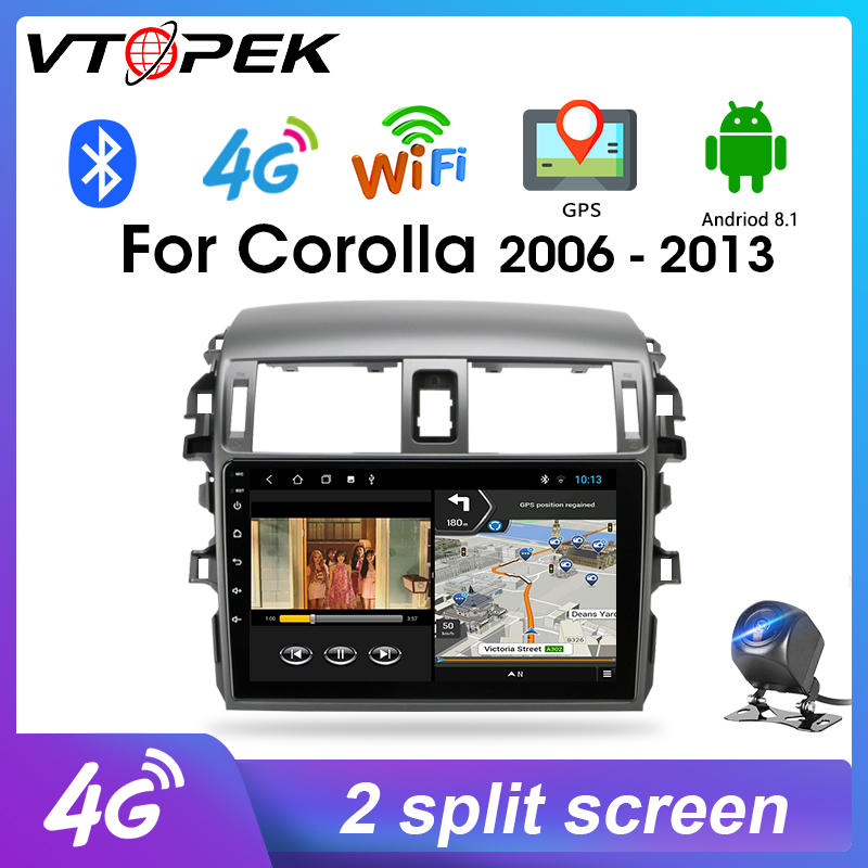Vtopek Android Stereo GPS Navigation 2 din For <font><b>Toyota</b></font> <font><b>Corolla</b></font> <font><b>E140/150</b></font> 2006-2013 Car Radio Multimedia Player 4G network FM image