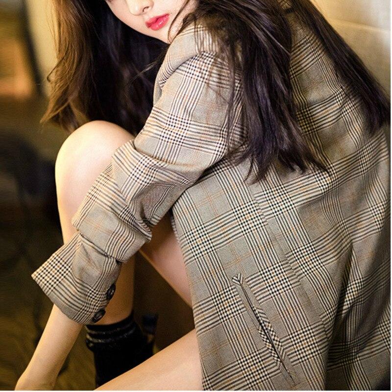 Peonfly xadrez do vintage impresso blazer feminino único breasted senhora do escritório blazer manga longa terno solto casaco blazers feminino