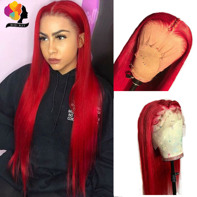 Red Burgundy 13*4 Lace Front Human Hair Wig For Women Brazilian Straight Remy Lace Front Wig Pre Plucked With Baby Hair Remyblue