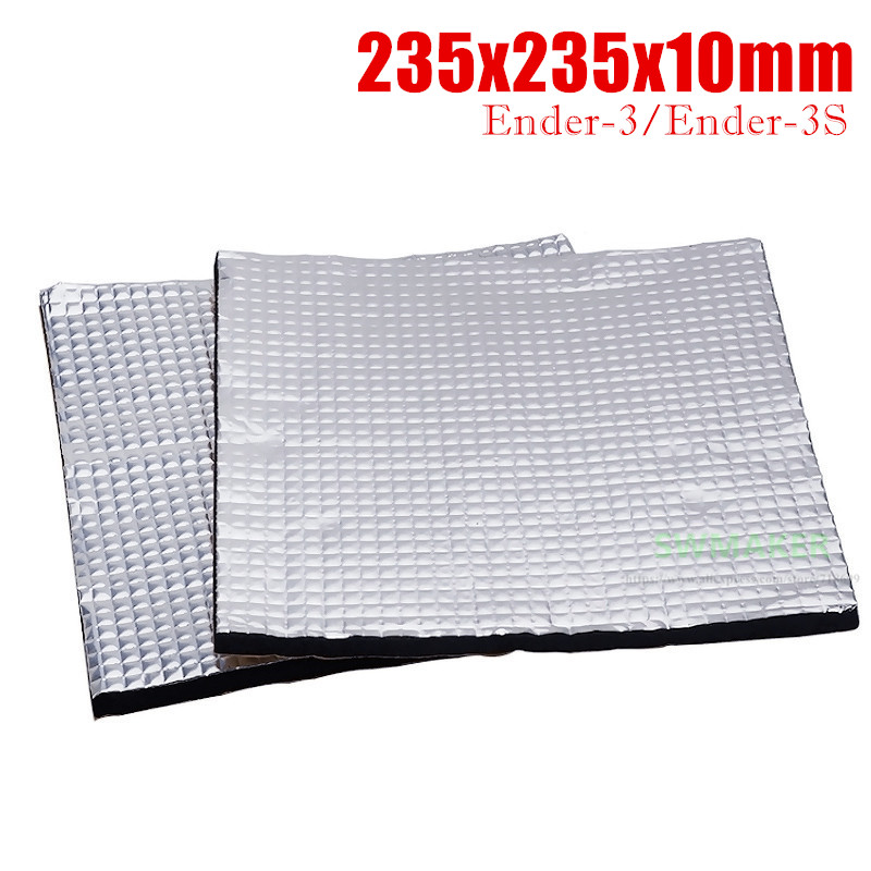 1pcs 235x235mm Heat Insulation Cotton Foil Self-adhesive Insulation Cotton 10mm Thick Tarantula Ender-3 Pro 3D Printer Parts