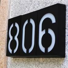Zasilany energią słoneczną 0-9 LED świetlny dom adres numer Street Road Doorplate kinkiet wodoodporna obudowa dom numer podświetlany