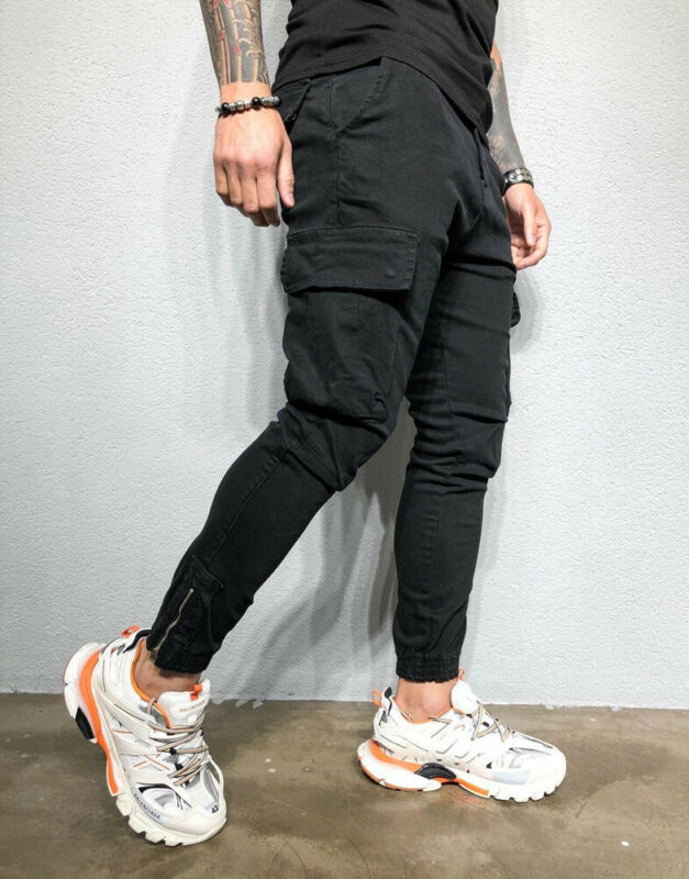 Men's Slim Pocket Straight Leg Cargo Pants Trousers Jogging Hip Hop Harem Pants Skinny Male Sweatpants Winter Overalls