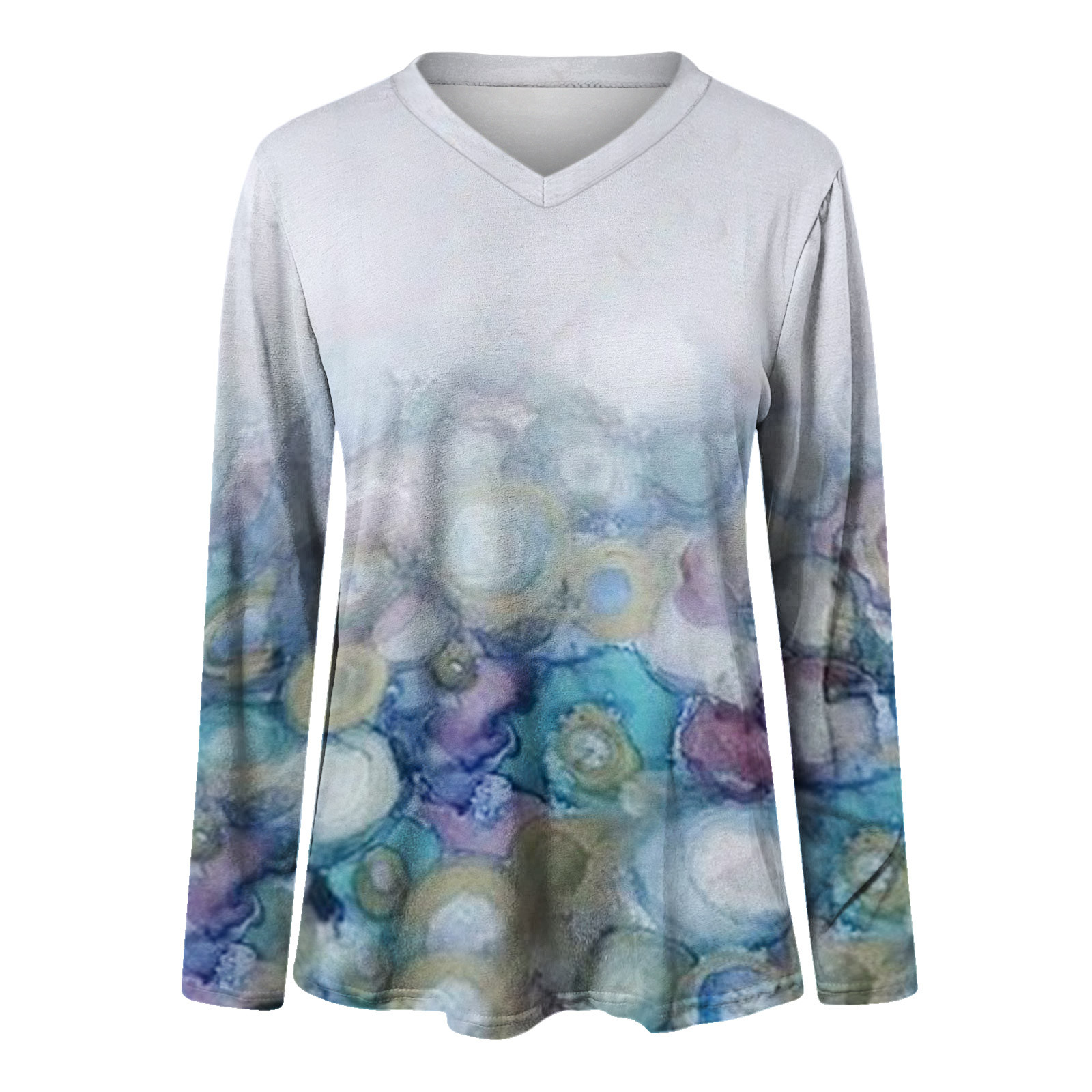 Women's Autumn Blouse Fashion Feather Printed V-neck Blouses Casual Long-sleeved Loose Ladies Top Blusas Mujer De Moda 2021