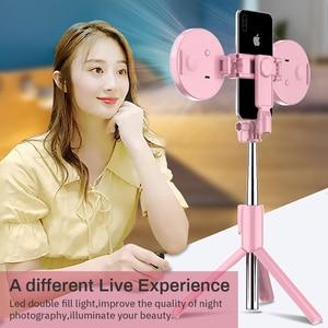 Image 2 - Trípode inalámbrico con Bluetooth para palo de Selfie, anillo de luz LED, monopié de mano plegable, obturador remoto, para iPhone 11 y Huawei