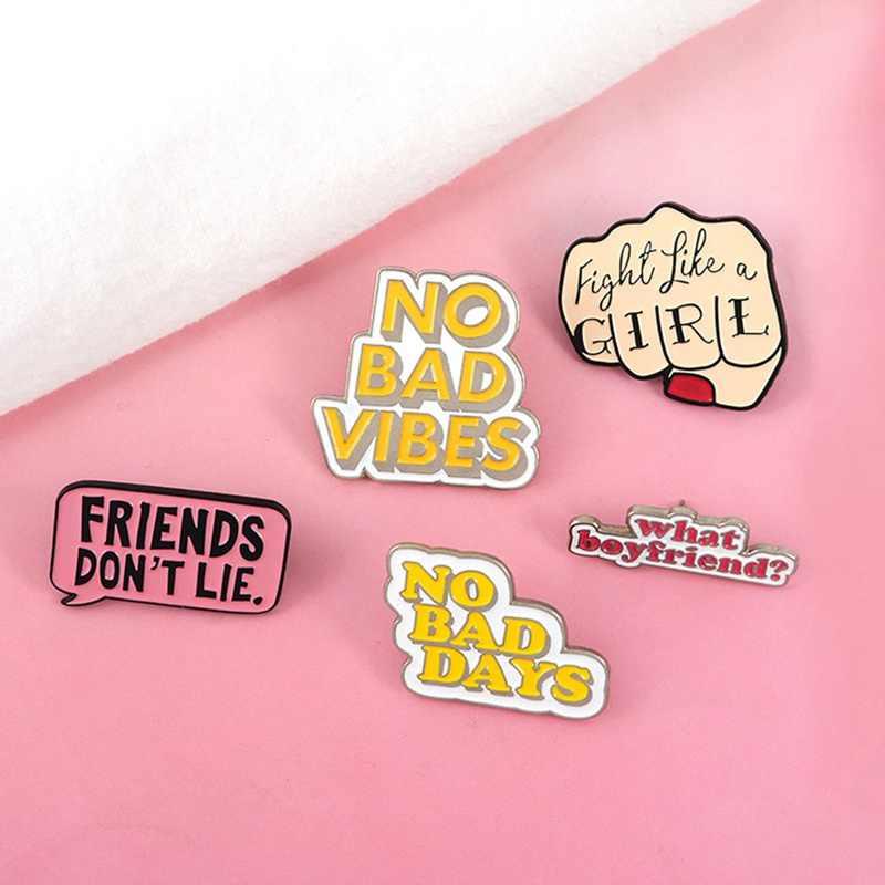 Penawaran Enamel Pin Feminist Girl Power Tidak Ada Getaran Buruk Lencana Bros Kerah Pin Kemeja Jeans Tas Kartun Perhiasan Hadiah