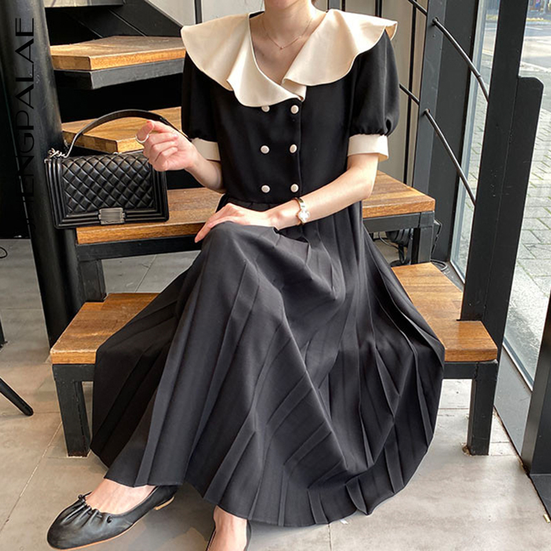 SHENGPALAE 2020 New Summer Women Vintage Loose High Waist Slim Was Thin Elegant Hit Color Double Breasted Maxi Dress ZA4629