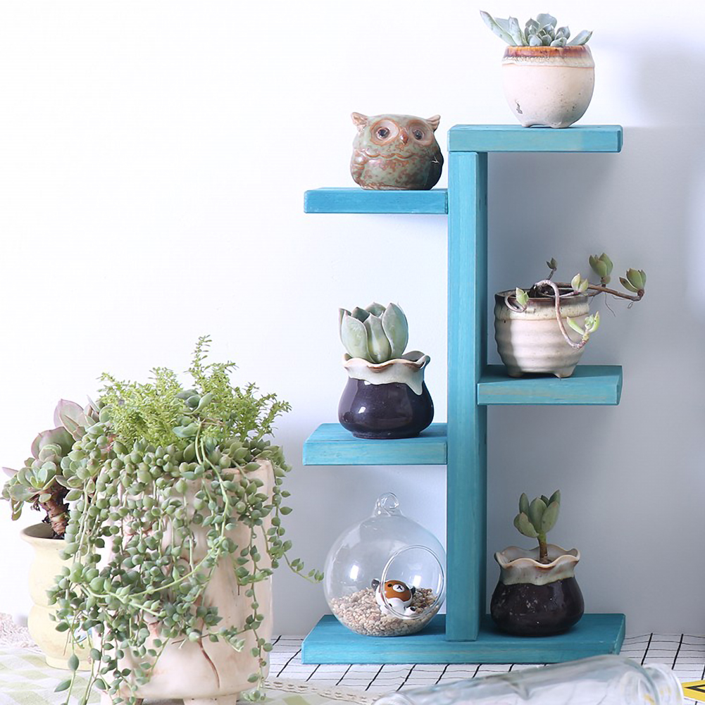 Wooden Household 4-layer Plant Stand Succulent Rack Balcony Desktop Indoor Coffee Bar Garden Flower Pot Shelf Plants Shelf