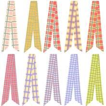Простой шарф с клетчатым принтом неизменяющийся ручкой шелковый