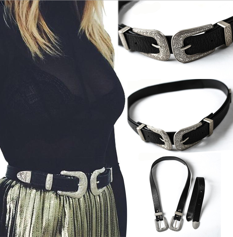 Local Stock Women Ladies Vintage Retro Boho Leather Belt Double Metal Buckle Waist Belt Waistband 2019 New In Arrival