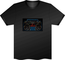 Sound Activated Boom Box Flashing Led T Shirt Xl El Party Stag Hen Unisex Disco Hot Summer Casual Tee Shirt(China)