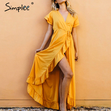 Simplee vネックフリルドレスセクシーな綿半袖ホリデイビーチマキシドレスカジュアルソリッドイエロー春夏ラップドレス