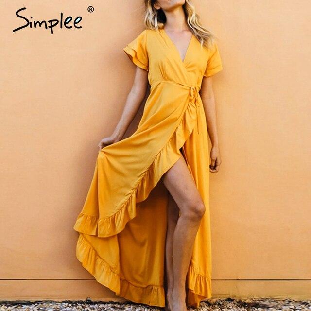 Simplee vestido com decote em v boho, de algodão, manga curta, de férias, praia, maxi vestido casual, cor lisa, amarelo, primavera/verão, envoltório