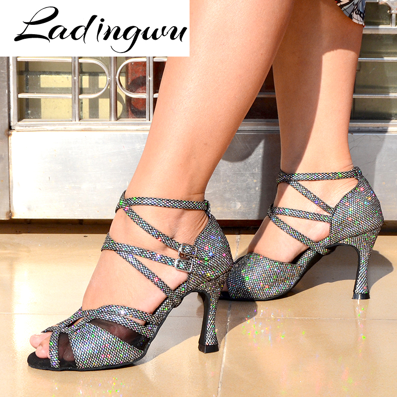 Ladingwu Brands Latin Dance Shoes Ladys Ballroom Dance Shoes Salsa Tango Party Profession Dance Shoes  Dark Gray Flash Cloth