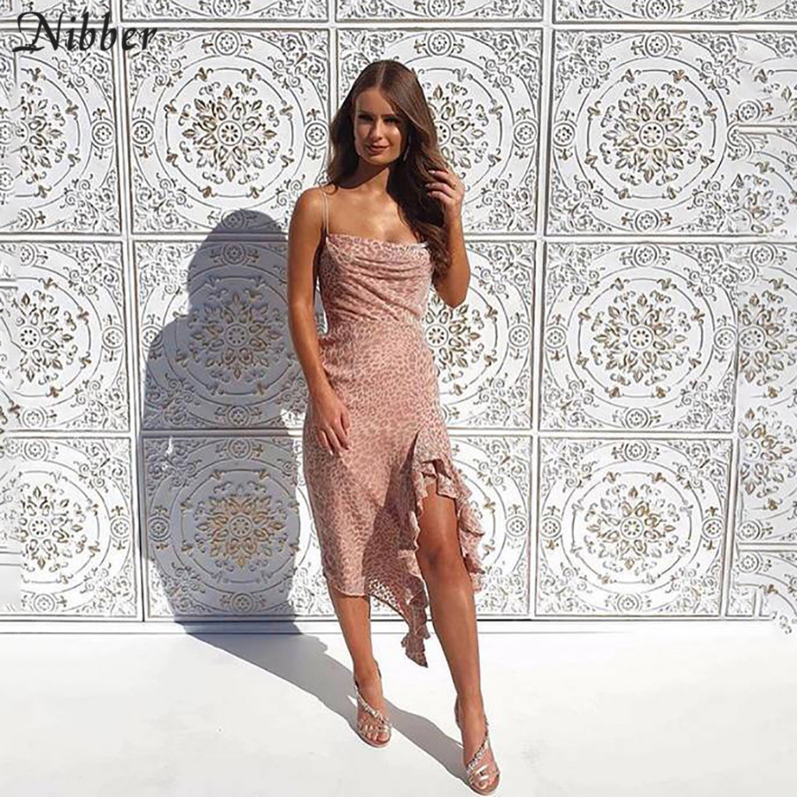 Nibber Pink Leopard Print Elegant Dance Dress Womens Autumn Winter Club Party Lace Up Dress 2019 Ruffle Bodycon Midi Dress Mujer