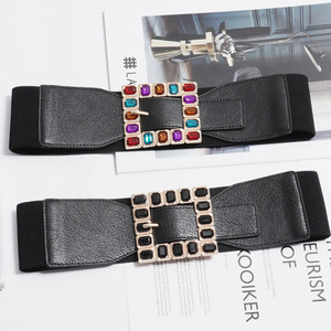 Image 4 - Fashion Colorful Rhinestone Square Buckle Belts for women Punk Leather Elastic Wide off belt for Dress Waistband Accessories