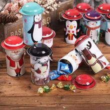 1PCS Christmas Candyดีบุกกล่องSanta Claus Snowmanกระป๋องChristmas Candy Jarกล่องเหล็กของขวัญกล่องขนมเด็กนำเสนอ