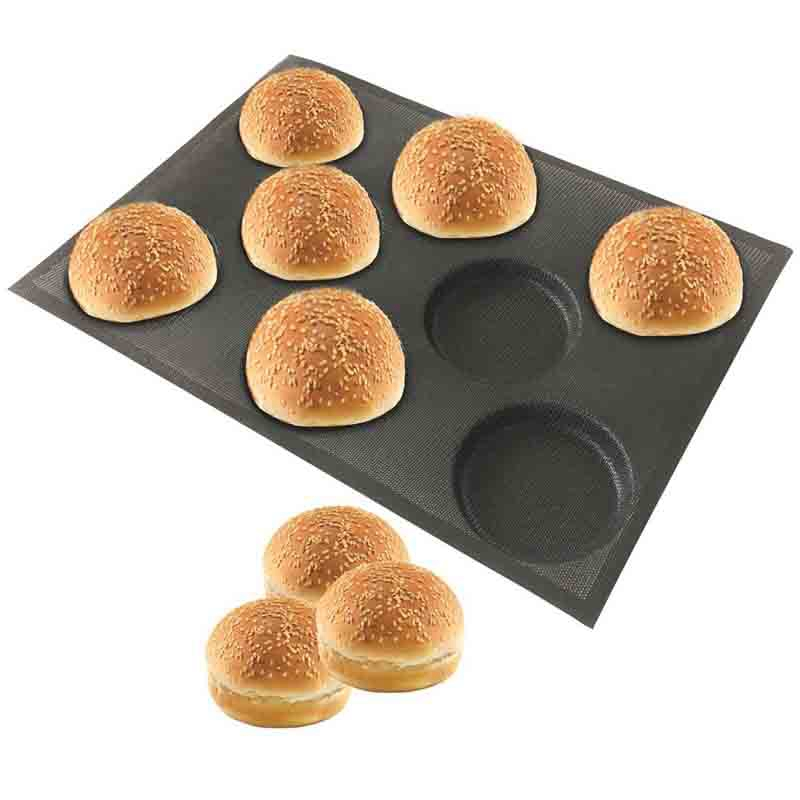 Best Silicone Hamburger Bread Forms Perforated Bakery Molds Non Stick Baking Sheets Fit Half Pan Size Waffle Molds     - title=