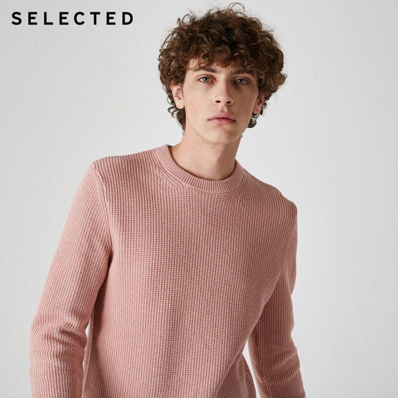 SELECTED Men's Cotton-blend Round Neckline Figured Weave Knit S|419124526