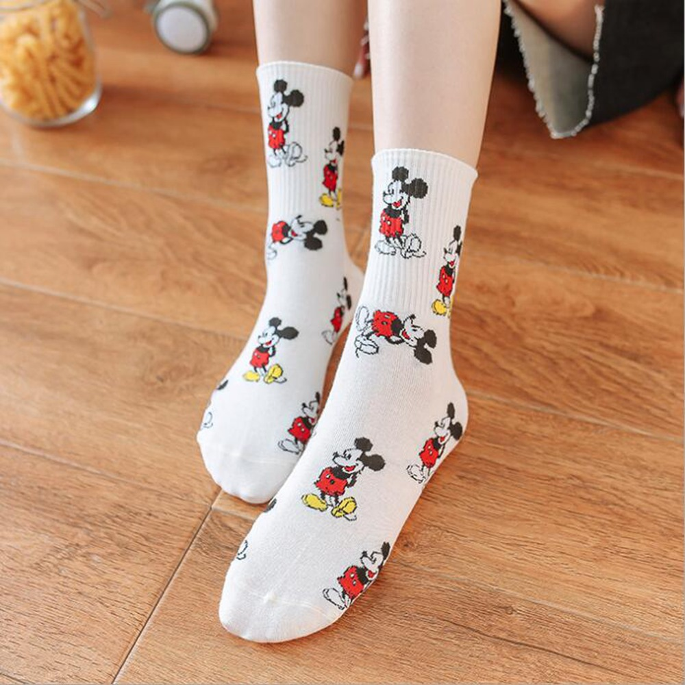 2020 Spring And Autumn New 1 Pair Cotton Cute Comfortable And Breathable Cartoon Mickey Ms. Sock Japanese Mickey Mouse Sock