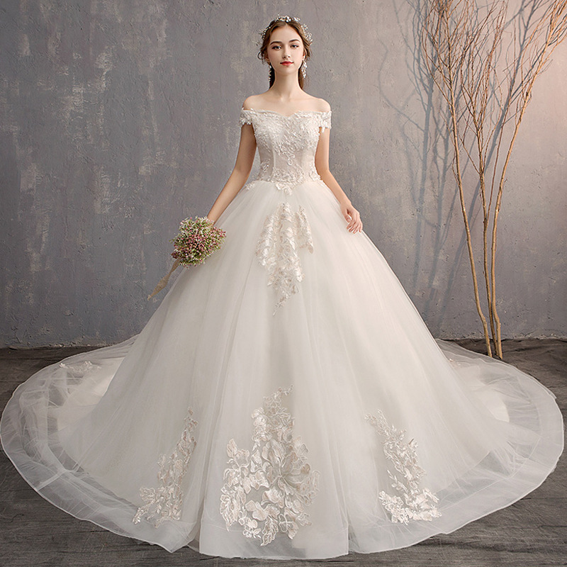 Mrs Win Wedding Dress Elegant Boat Neck Sweep Train Lace Up Ball Gown Off The Shoulder Princess Luxury Wedding Gowns Plus Size
