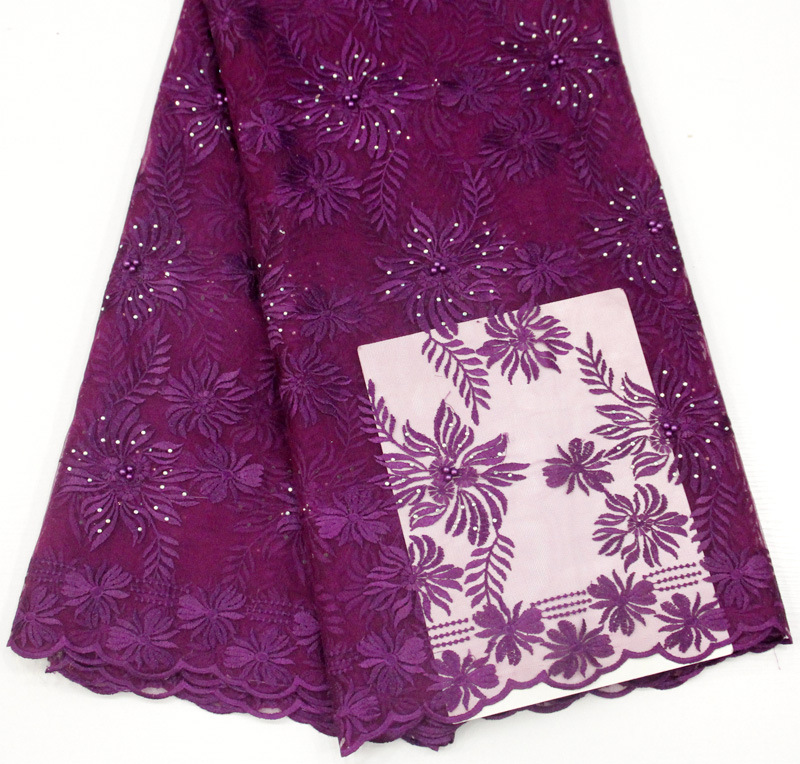 5 Yards Purple African Lace Fabric Embroidered Nigerian Laces Fabric French Tulle Lace Fabric For Ladies Dress WS-05