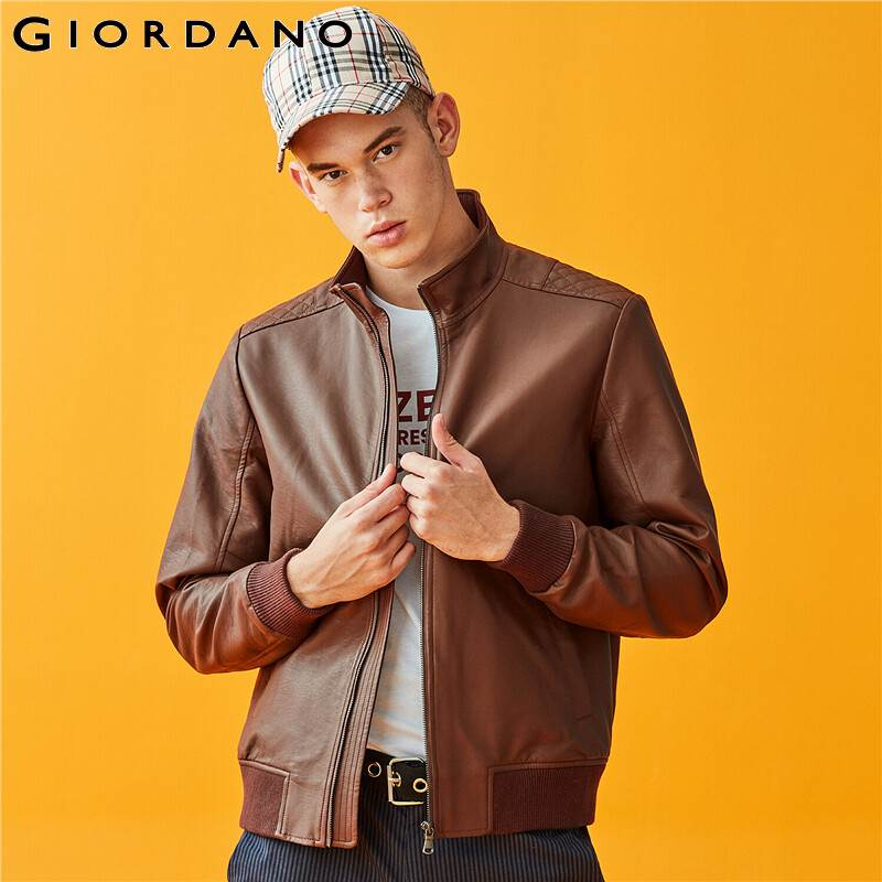 Giordano Men Jackets Stand Collar PU Bomber Jacket Multi-Pocket Durable Fashion Warm Casaco Masculino 01079671