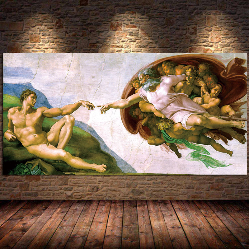 Capela sistina teto afresco de michelangelo pintura em tela adam posters e impressões arte da parede para sala de estar cuadros sem moldura
