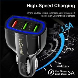 Image 5 - QGEEM QC 3.0 3 USB Car Charger Quick Charge 3.0 3 Ports Fast Charger for Car Phone Charging Adapter for iPhone Xiaomi Mi 9 Redmi
