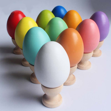 Real wood imitation eggs wood Easter eggs Children/kids doodle DIY handmade painting materials with egg cartons