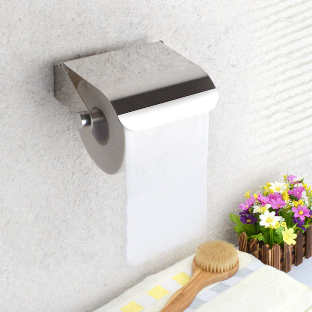 New Wall Mounted Toilet Paper Holder Stainless Steel Tissue Roll Dispenser With Cover Plate For Bathroom Accessories