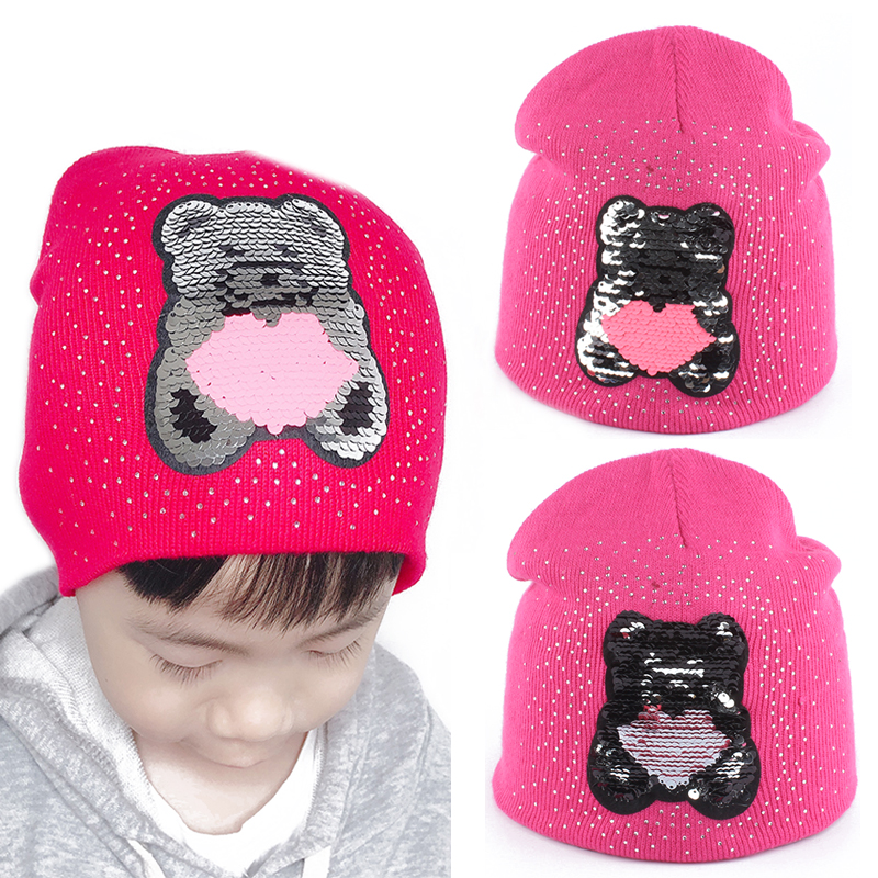 Winter Hat For Kids Baby Girls Winter Cap Cartoon Bear Sequin Funny Hat Double Layer Warm Knitted Rhinestone Skullies Beanies in Hats Caps from Mother Kids