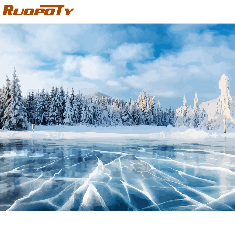H83f874a89d08409b833ab03a35e6ecack RUOPOTY Frame Mountain Lake DIY Painting By Numbers Landscape Handpainted Oil Painting Modern Home Wall Art Canvas Painting Art