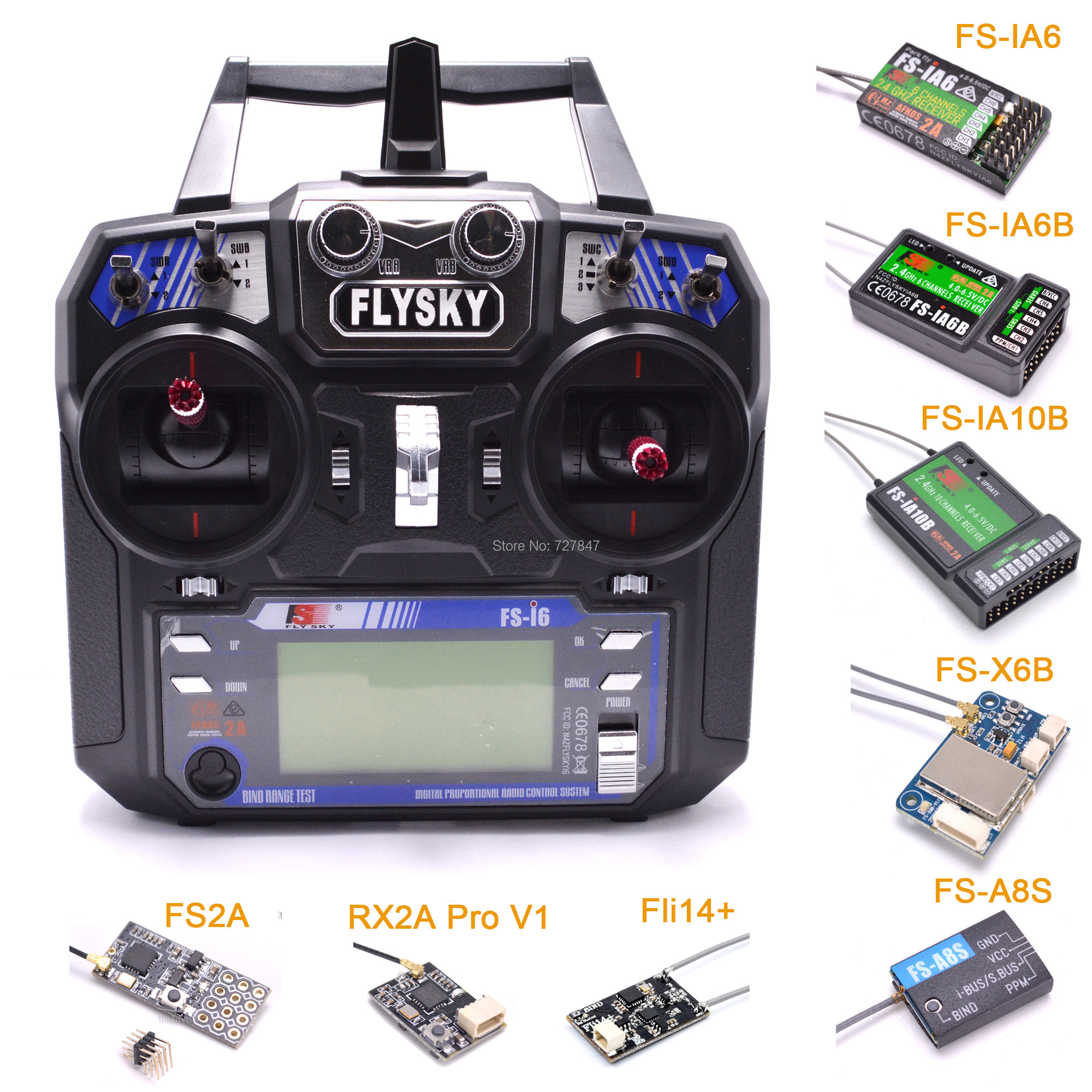 FLYSKY FS-i6 I6 2.4G 6CH AFHDS Transmitter With IA6B X6B A8S R6B IA10B RX2A Receiver Radio Controller For RC FPV Drone Airplane