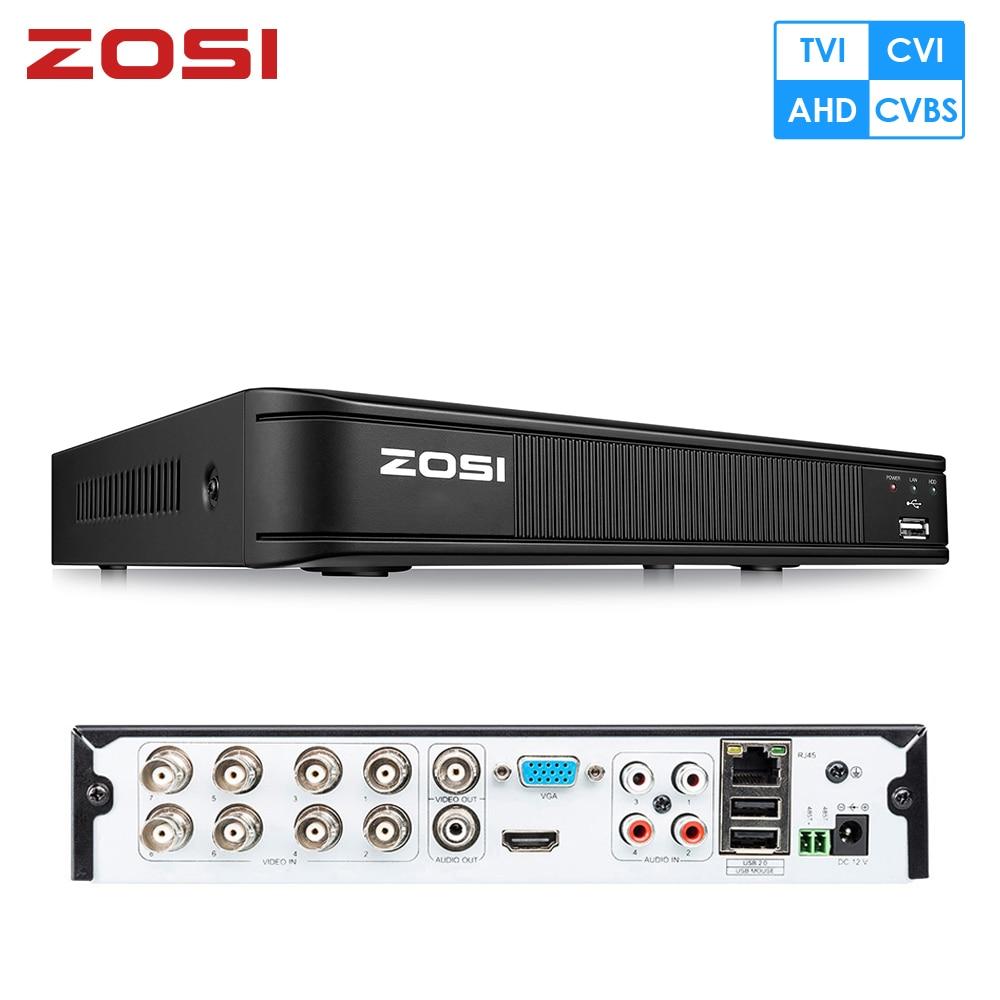 ZOSI 2MP 1080P H 264 8CH 4-in-1 CVBS AHD CVI TVI CCTV DVR Security DVR RJ45 Digital Video Surveillance Recorder videcam Output