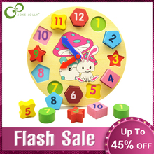 Wooden Toys 12-Number Kids Clock Educational-Toys Puzzle Geometry Digital Baby Colorful