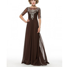 Charming Brown Chiffon Plus Size Mother Of The Bride Dresses Half Sleeves Beading Crystals Full-Length Backless Women Dresses(China)
