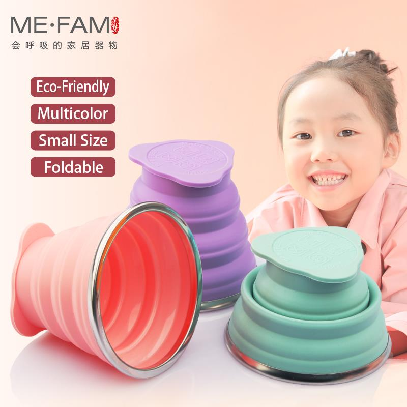 ME.FAM New Mini 150ml Silicone Folding Cup Stainless Steel Mouth With Dustproof Cover Outdoor Collapsible Travel Child Water Cup