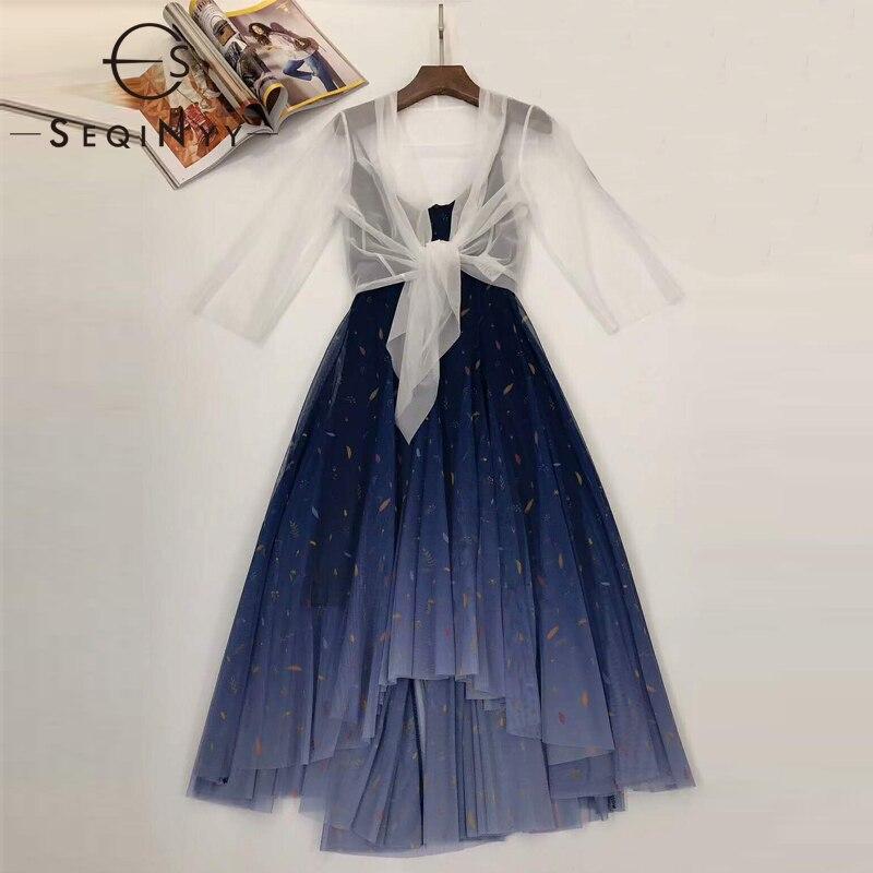 SEQINYY Elegant Set 2020 Summer Spring New Fashion Design Women White Top + Gradient Blue Colorful Print Mesh Dress Suit