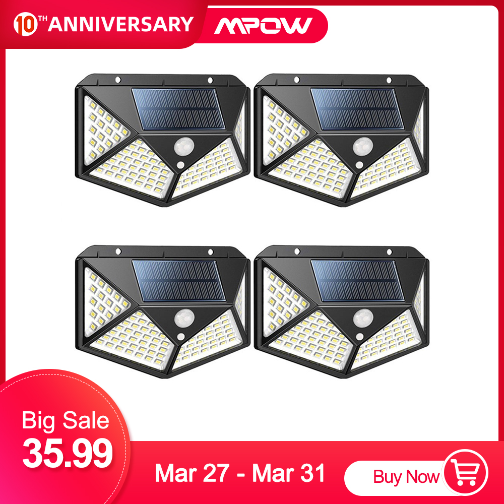Mpow 100 LED Super Bright Solar Lights Outdoor Motion Sensor Light 270° Wide Angle Wireless Waterproof Security IP65 Wall Lights