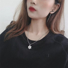 Korean style women flower cool hip hop necklace ins pendant ball chain clothing accessories