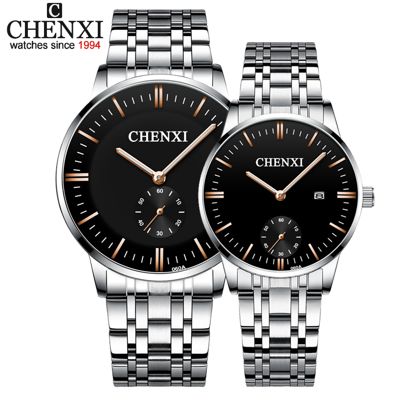 CHENXI Lover's Wristwatches Women Fashion Watches Men Or Lady Quartz Watch Silver Stainless Steel Waterproof Clock Date Watches