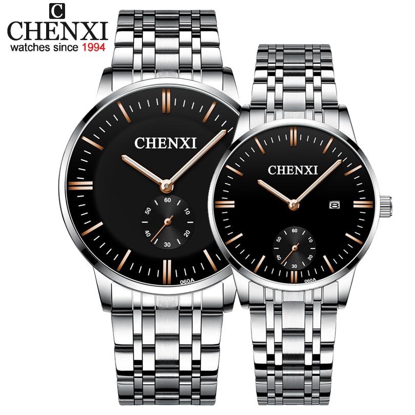 CHENXI Lover's Wristwatches Women Fashion Watches Men Or Lady Quartz Watch Silver Stainless Steel Waterproof Clock Date Watches