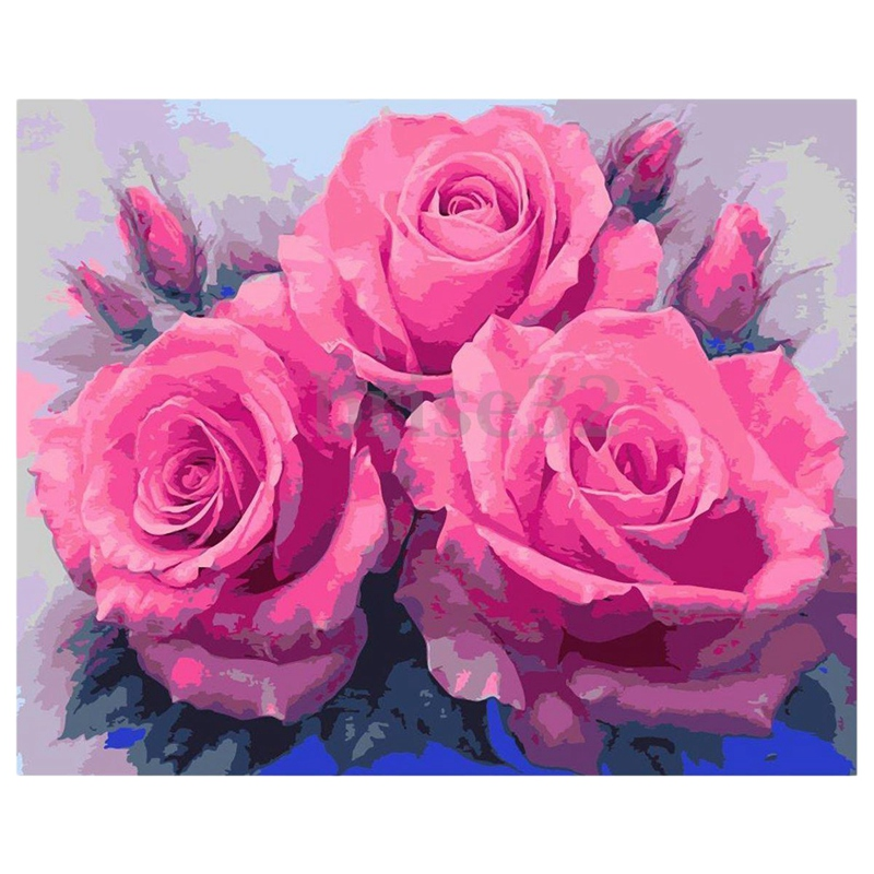 Paint By Number Kit DIY Oil Painting Cloth Digital Home Decor, 3 Pink Roses