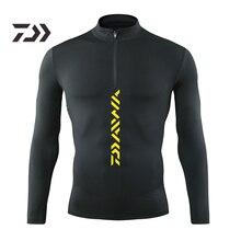 Одежда для рыбалки Daiwa, мужская рубашка для рыбалки с длинными рукавами, Облегающая рубашка, Мужская быстросохнущая дышащая однотонная Спортивная одежда на молнии