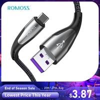 ROMOSS-Cable USB tipo C 5A para Huawei P40 Pro Mate 30 P30 Pro, Cable de carga rápida USB-C SCP de 40W