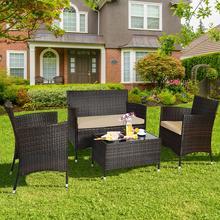Комплект Мебели для патио из ротанга costway 4 шт мягкий диван