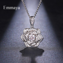EMMAYA New Design For Female Cubic Zircon Silver Plated Pendants Shiny Necklaces With Flower Banquet Sparking Jewellery(China)